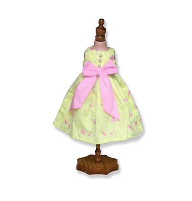 Yellow Embroidered Gown with Pink Flowers Fits 18 inch American Girl Dolls