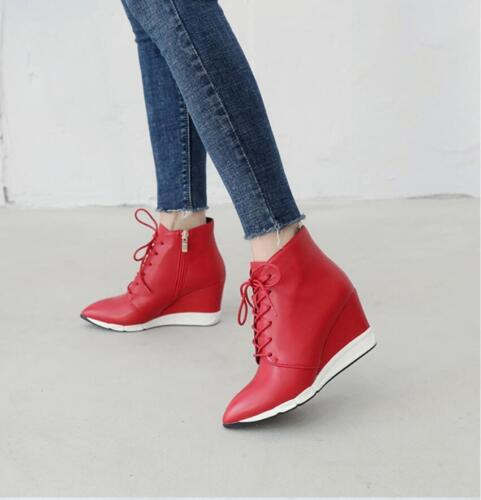 Women's Pointed Toe Ankle Boots Lace Up Booties High Wedge H