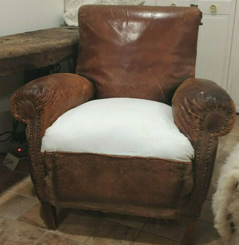 Vintage, Reconstructed, French, Distressed, Leather, Art Deco, Club Chair
