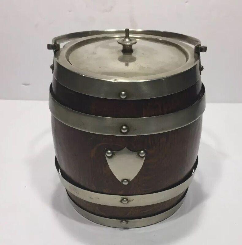 Antique English Oak Biscuit Barrel Tobacco Jar Silverplate EPNS Porcelain