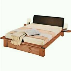 Japanese style pine double bed with faux leather headboard + full length drawer + mattress