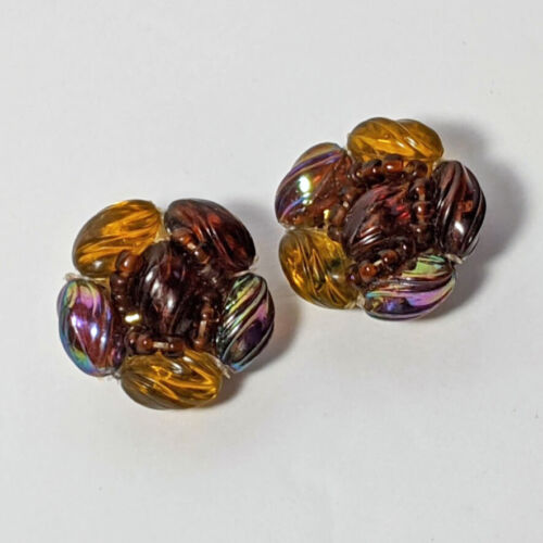 Vintage Made In Western Germany Iridescent Lucite Cluster Bead Clip On Earrings