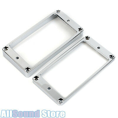 NEW Metal Humbucker Pickup Ring Set Slanted & Curved Bottom, CHROME Les Paul 335