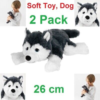 2 x IKEA LIVLIG HUSKY SOFT TOY Dog Funny 26cm Puppy Christmas...