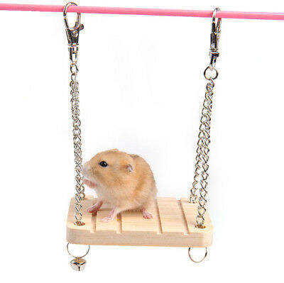 Wooden Hamster Toy Swing Bell Rat Bird Mouse Exercise Cage Hanging Pet Supplies for sale  Shipping to Canada
