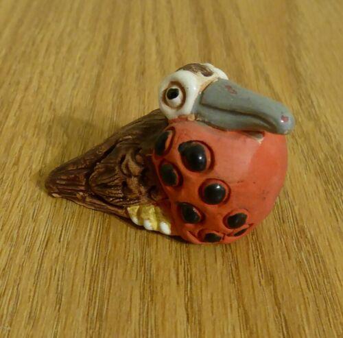 Vintage Handmade Peruvian Clay Frigate Bird Figurine from Peru