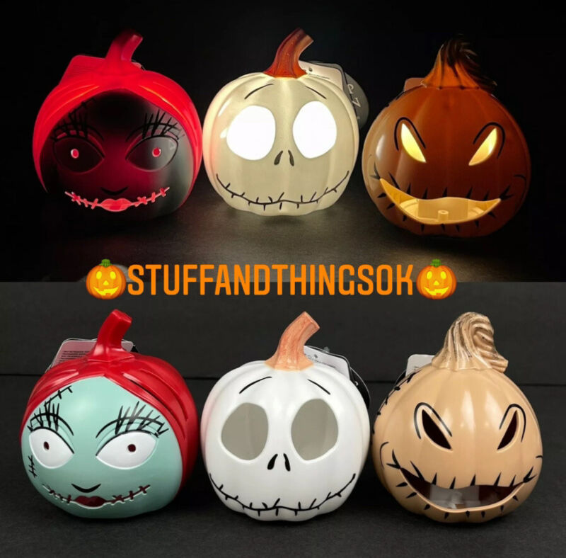Lot of 3 Disney Nightmare Before Christmas Halloween Mini Light Up Pumpkins NEW