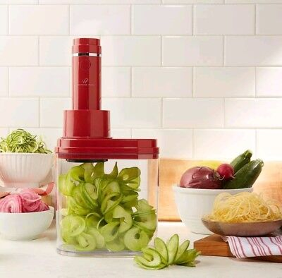 Wolfgang Puck 3-in-1 Electric Power Durable Spiralizer With Recipes - Red