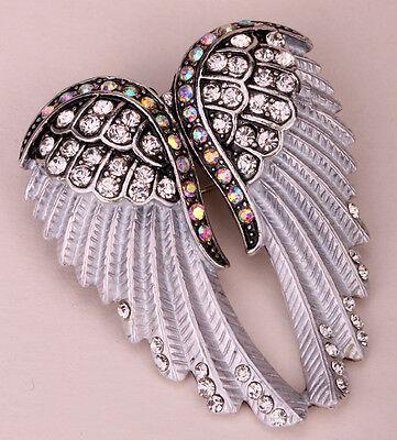 Angel wing brooch pin pendant women biker jewelry gifts her mom BD03 silver gold