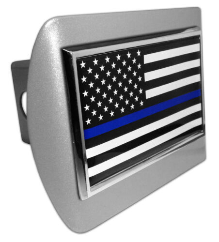 Police Thin Blue Line Flag METAL Emblem on Brushed ALL METAL Hitch Cover MADE US