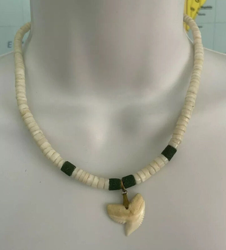 Vintage Genuine Puka Pukka Shell Shark Tooth Necklace