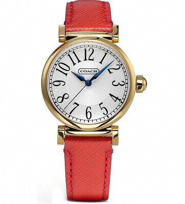 Coach Damen Madison Rund Rot Leder Armbanduhr 14501729 Nwt ()
