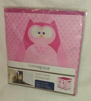 - Large Fabric Storage Bin--Pink--Owl on Front & Back-10.5 in. X 26.7 in. X 11 in.