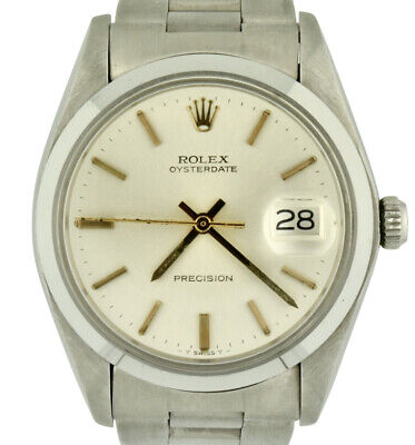 Unworn 1980 Rolex Oysterdate Precision 6694 Manual Wind 34mm Silver Dial w/ Box