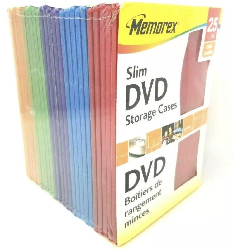 25 New Memorex Slim Color DVD Cases Red Blue Purple Green Orange