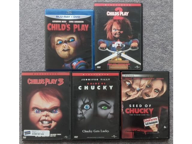 Chucky Series Child's Play 1 2 3 Bride Seed of Lot Horror DVD Blu-Ray Rare OOP