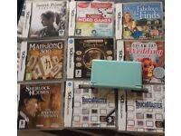 Nintendo DS Lite with 9 Games. - Aqua Blue