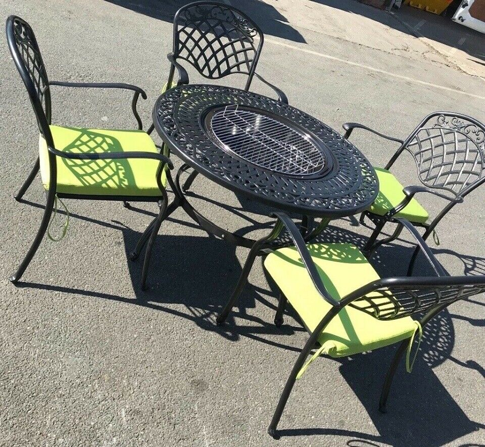 Awe Inspiring Stunning Round Outdoor Garden Firepit Table And 4 Chairs Only 400 00 Rrp 1299 00 In Moston Manchester Gumtree Machost Co Dining Chair Design Ideas Machostcouk