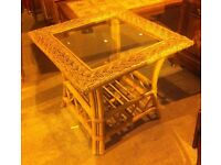 wicker/ rattan glass topped coffee table