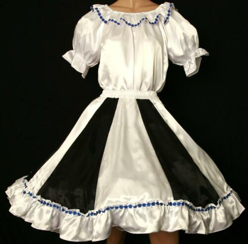 "BLACK & WHITE SQUARE DANCE BLOUSE SKIRT DRESS SIZE SMALL WAIST 25""-32"""