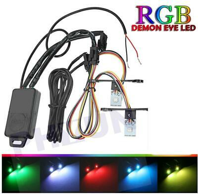 Multi-color RGB LED Devil Eyes DRL Module Headlight Projector Lens Retrofit DIY