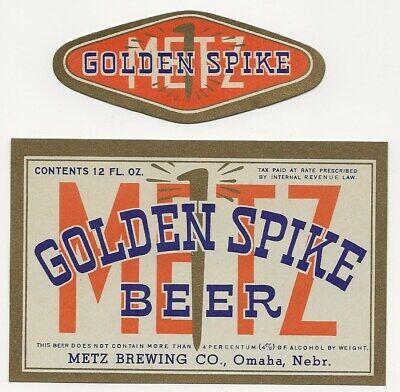 Metz Brewing Golden Spike Beer label with neck label IRTP Omaha NE