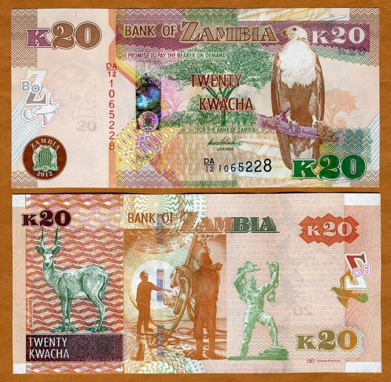 Zambia, 20 Kwacha, 2012 (2013), P-52a, UNC > New Revalued Currency, First date