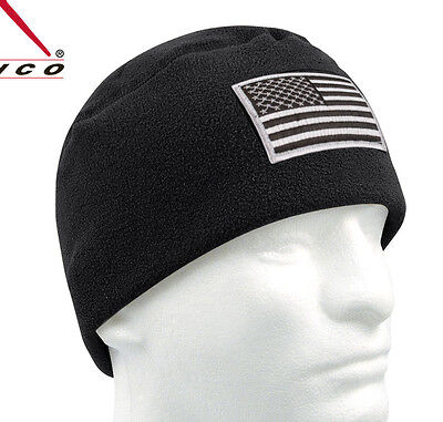 Tactical Polar Fleece Beanie Watch Cap w/Loop Panel for Flag or Morale Patch