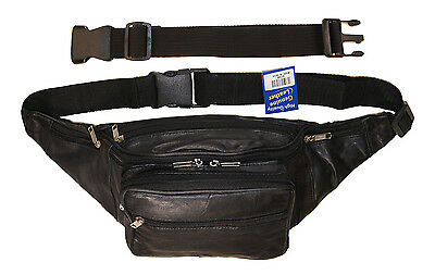"""Leather Large Concealed Pouch Fanny Pack Holster Bag, 18"""" Free Extension Belt"""