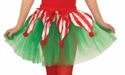 Candy Cane Tutu Christmas Crinoline Elf Red Green Child Girls Costume Accessory