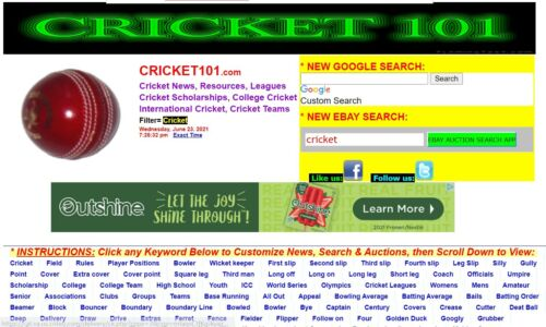 CRICKET101.COM  Domain name and monetized website!  15 years old, original owner