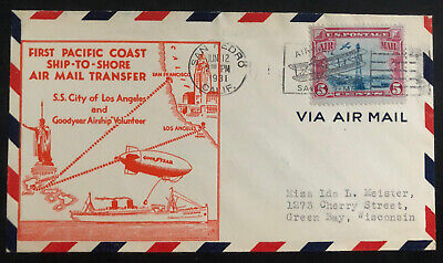 1931 New York USA Ship To Shore Cover SS City Of Los Angeles To Green Bay (Bayshore Wi)