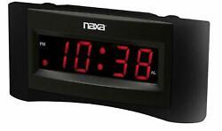 New Naxa Digital Large LED Display Dual Alarm Clock AMFM Radio AC/DC USB Charger