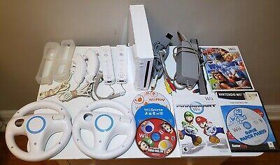 Nintendo Wii Console Mario Kart & Super Mario Bundle, 2 Controllers, 2 Wheels
