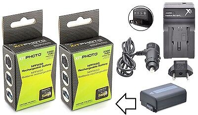 Hi Cap. 2Pc NP-FW50 Li-Ion Battery+Charger For Sony Alpha ILCE-7 ILCE-7s Mark II ()