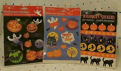 Vintage Halloween Stickers 12 Sheets Total Carlton Cards and American Greetings - Carlton Halloween