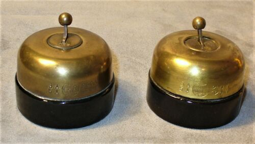 2 Vintage Hubbell Brass & Porcelain Round Dome Toggle Switch Items