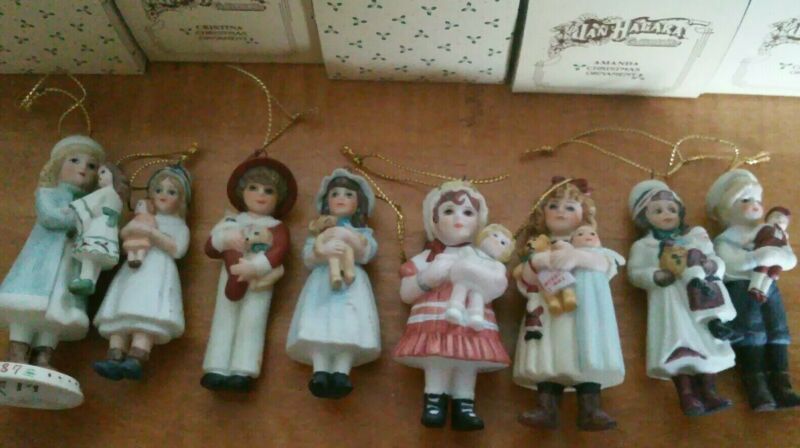 Lot of 8 LE Jan Hagar Bisque Doll Ornaments w/Boxes! HTF Stephen Carol Chris #3