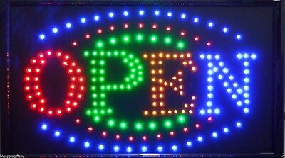 Large Bright Animated Business Led Open Sign W. Switch 21 X13 24