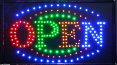 Large Animated Led Neon Business Open Sign W.motion Onoff Switch 21 X13 004