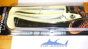 Savage Gear lures Sand Eel jig and soft body 7 inch 2 oz J170 Green Glow 42207