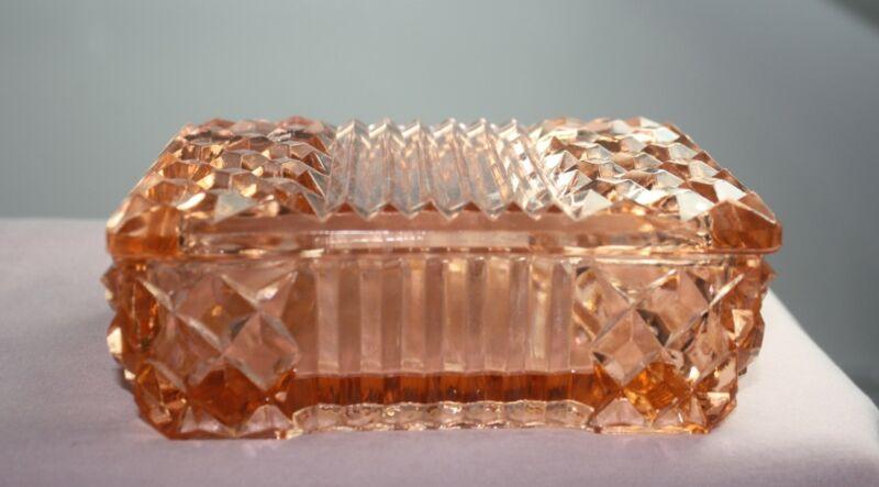 VTG. PINK DEPRESSION GLASS COVERED DRESSER DISH WATERFORD DIAMOND PATTERN