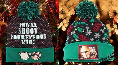 A Christmas Story Hat (New A Christmas Story You'll Shoot Your Eye Out Fragile Pom Adult Cap Hat)