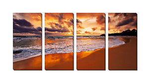 Framed Gallery-Wrapped Canvas Print (Nature Landscape Sunset Ocean Beach)