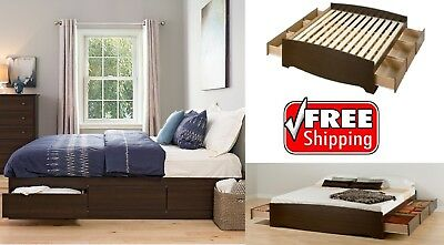 King Size 6-Drawers Platform Bed Espresso Wood Frame Bedroom Furniture Storage