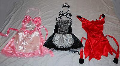 Kostüm Zimmermädchen Teufel Teufelchen Schürze Kleid Pink Rosa Schwarz Weiss Rot (Sexy Kostüme)