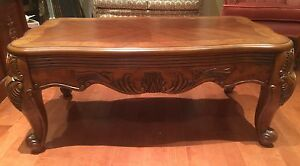Solid wood, beautifully carved coffee table,and side table