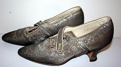 Vintage 1920s Silver Lame Damask DECO Shoes!  Museum Quality!