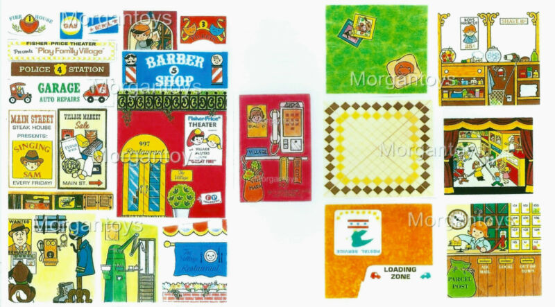 Vintage FISHER-PRICE VILLAGE #997 Little People REPLACEMENT LITHOS - STICKERS