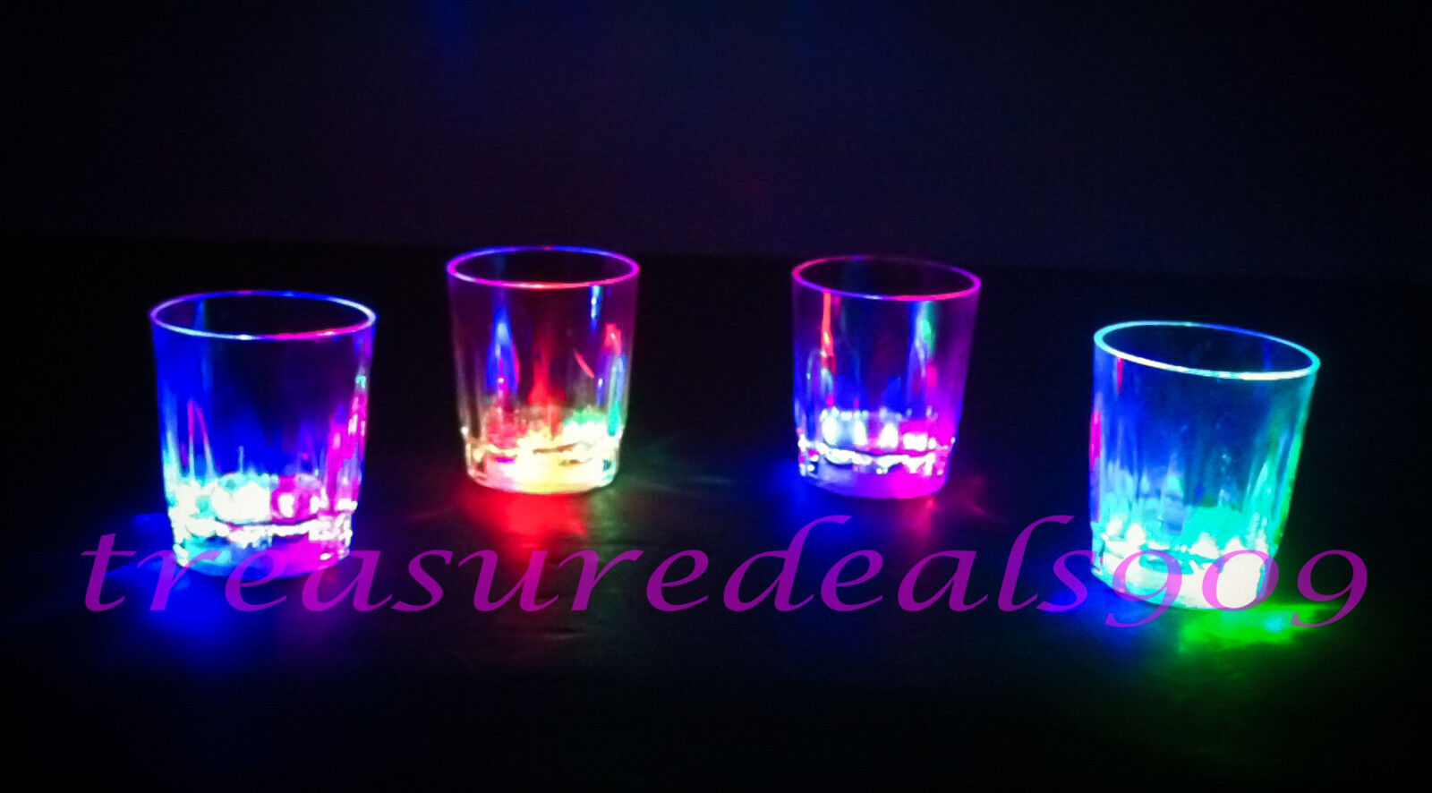 24 PCS LED LIGHT UP DRINK SHOT GLASSES ACRYLIC FLASHING CUPS BLINKING BEER GLASS